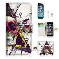 ( For iPhone 7 ) Wallet Case Cover P1506 Skull