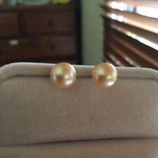 18K Gold Top Luster Gold Seawater Pearl 9mm Elegant Earrings/Stud