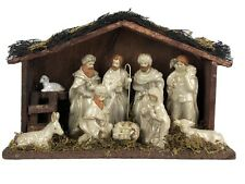 One Piece White Porcelain Crèche Nativity Scene Wood Stable Christmas