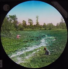 COLOUR Glass Magic Lantern Slide RIVES THAMES AT THE WATERCRESS BEDS C1890 PHOTO