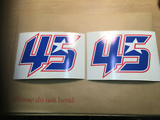 2X Scott Redding 45 Race Number Stickers MotoGP Decals (140mm x 110mm).