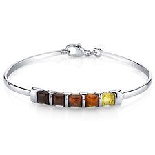 Five Stone Multi Color Baltic Amber Bangle Bracelet Sterling Silver