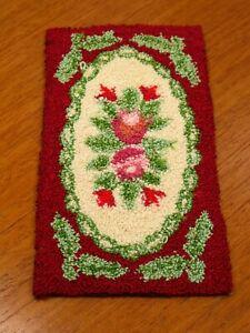 Gorgeous Rectangular Floral French Knot Throw Rug Artisan Dollhouse Miniature