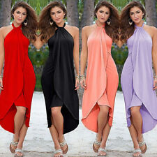 Womens Boho Summer Beach Long Maxi Dress Evening Cocktail Party Halter Sundress