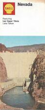 1970 SHELL OIL Hoover Dam Road Map NEVADA Las Vegas Lake Tahoe Reno Sparks