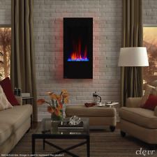 "Clevr 32"" Vertical Wall Mount Electric Fireplace Heater w/ Backlight & Remote"