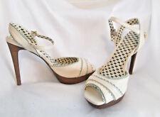 Jessica Simpson Peep Toe Slingback Platform Stiletto Off-White Sandal Heels