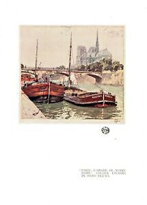 """1927 The Studio Lithograph Print """"Paris L'abside de Notre Dame"""" by Hans Figura"""