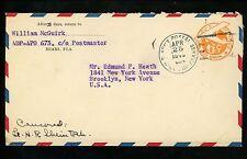 US Postal History WWII Military #UC6 APO #604 1945 Natal Brazil to Brooklyn NY
