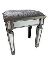 Venetian Mirrored Glass Stool Dressing Table Velvet Padded Seat Vintage Retro