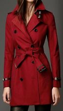 Burberry London Kensington Med US 12 Military Red Gabardine Trench Coat $2195