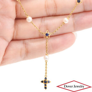 Estate Blue Sapphire Pearl 18K Gold Heart Star Cross Chain Pendant Necklace NR