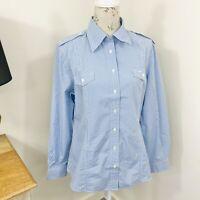 RM Williams Womens Shirt Blue Check Long Sleeve Button Down Size 14 NWT