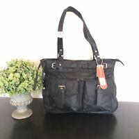 ALLESANDRO FERRERA Women's Tote Black Leather Zip Handbag Shoulder Bag NEW!