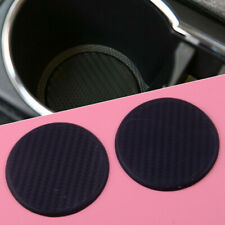 2pcs Black Round 63mm Car Dashboard Water Cup Slot Non-Slip Mat Pad Cushion