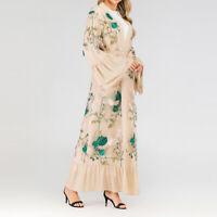 Kaftan Muslim Women Long Sleeve Vintage Style Floral Patchwork Maxi Dress