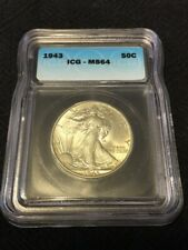 1943 WALKING LIBERTY HALF DOLLAR ICG MS-64 - UNCIRCULATED - CERTIFIED SLAB - 50C