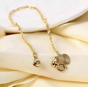 """9ct 9K Yellow """"Gold Filled"""" Wagterwave Heart Bell ANKLET 5.9"""" for Kids, Gift"""