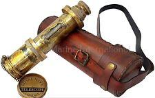 Brass Nautical - 14 inches Antique Telescope Spyglass Replica in Leather Box