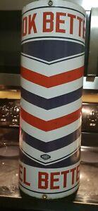 """Vintage Marvy Barber Pole Porcelain 24"""" Look Better Feel Better"""