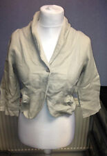 KOKOMARINA Linen Croped Single Breasted Jacket Beige Size Small SALEs EE 09
