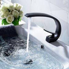 C-shaped Spout Black Single Handle Bathroom Basin Sink Mixer Faucet Brass Taps