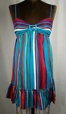 Guess Jeans Silk Colorful Vertical Stripe Mini Dress Size 1