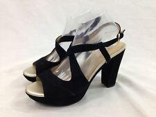Geox Respira Shoe Womens 9.5 Black Velvet Open Toe Sandal 4.5'' Heel Ankle Strap