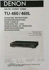 Denon Tu-460 / Tu-460L - Am Fm Stereo Radio Tuner - Instruction - User Manual