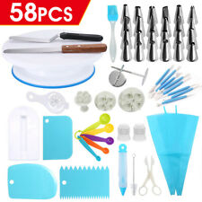 58PCS Cake Decorating Tools Kit Turntable Baking Flower Icing Piping Nozzles AU