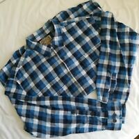 Duluth Trading Co Mens XL Blue Checked Flannel Long Sleeve Button Down Shirt