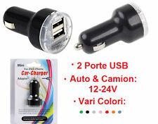 Adattatore 2 porte USB 12-24v Auto,Camion,Camper.Sdoppiatore doppia porta.iPhone