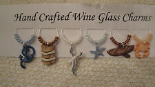 """"""" NAUTICAL''/BEACH  SET OF 6  HAND CRAFTED wine glass drink markers"""