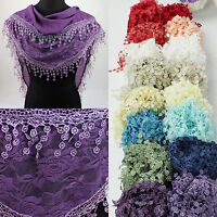 Fashion Womens Rose Floral Print Lace Tassel Plain Triangle Scarf Shawl Wrap New