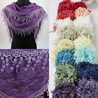 Fashion Womens Rose Floral Print Lace Tassel Plain Triangle Scarf Shawl Wrap New