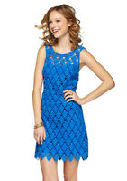 NEW Lilly Pulitzer Dress Shiloh blue lace shift Dress 0/2/4/6/8/XS/S/M $378