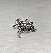 10PCS Antique Silver Sea Turtle Animal Charm/Pendant 16x20mm