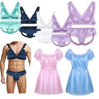 Sissy Men's Lingerie Nightwear Crossdresser Gay Babydoll Sleep Dress Underwear