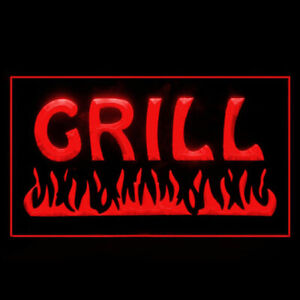 110032 Fire Grill Chips Cafe Restaurant BBQ Display LED Light Neon Sign