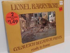 Vintage Color Foil Etch Decorator Prints Lionel Barrymore Old Red Bank & Venice