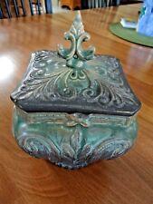 ART DECO POTTERY RARE TEA CADDY WHEAT HARVEST DESIGN GREEN BROWN MATT CREAMER