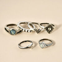 6pcs Fashion Boho Silver Plated Elephant Turquoise Knuckle Ring Mid Finger Rings