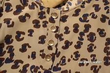 Gryphon New York 100% Silk Grey/Blue Leopard Print Tank Top Shell Sz M $185 NWT