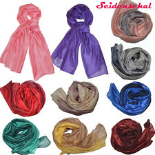 XXL Seidenschal Halstuch Seide Schals Tücher Stola Silk Farbverlauf Unifarben