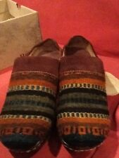 Born Kimmy Brown Wool Serape Clogs Size 10/42 M Mint!