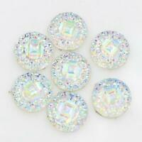50pcs//12mm Resin Round Dotted Cabochon Flatback Embellishments White