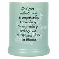 Serenity Prayer Teal White Floral Design Electric Large Jar Candle Warmer