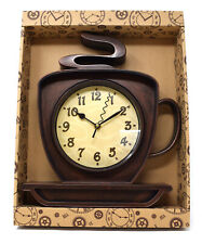 32cm Coffee Cup Metal Wall Art Clock Retro Funky Novelty Cafe Kitchen Shop Gift
