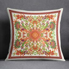 S4Sassy Floral Printed Home Decorative Cushion Case Square Orange Pillow Cover