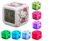 Hello Kitty Clock LED Changing 7 Colors Digital Alarm Room Sleep Children Home